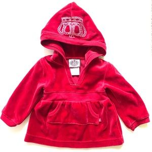Juicy Couture Baby Velour Hooded Red Shirt